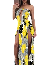 Women Sexy Split Cut Out Backless Printed Club Wear Dress Yellow