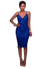 Women Sexy Spaghetti Straps Lace V-Neck Midi Dress Blue