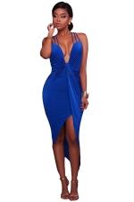 Women Sexy Halter V-Neck Lace Up Open Bra Clubwear Dress Blue