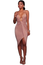 Women Sexy Halter V-Neck Lace Up Open Bra Clubwear Dress Khaki