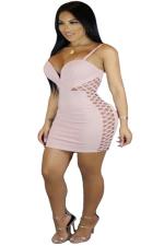 Women Sexy Strap Deep V Hollow Out Club Wear Dress Pink