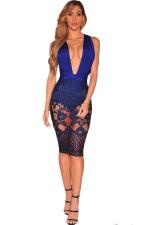 Women Sexy Lace Patchwork Bandage Backless Clubwear Dress Blue