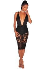 Women Sexy Lace Patchwork Bandage Backless Clubwear Dress Black