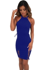 Women Sexy Lace Up Hollow Out Club Wear Bodycon Dress Blue