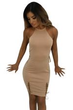 Women Sexy Lace Up Hollow Out Club Wear Bodycon Dress Khaki