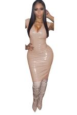 Women Sexy Solid Color V-Neck Skinny Bodycon Club Wear Dress Apricot