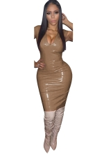 Women Sexy Solid Color V-Neck Skinny Bodycon Club Wear Dress Brown