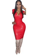 Women Sexy Solid Color V-Neck Skinny Bodycon Club Wear Dress Red