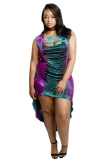 Women Sexy Splits Front And Back High Low Tank Dress Purple