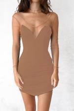 Women Sexy Sheer Sleeve Backless Deep V Neck Club Wear Dress Khaki