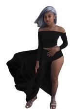 Women Sexy Off Shoulder Long Sleeve Sheer Club Wear Dress Suit Black