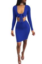 Women Sexy Deep V Front Bow Midriff Bodycon Club Wear Dress Blue
