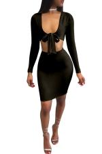Women Sexy Deep V Front Bow Midriff Bodycon Club Wear Dress Black