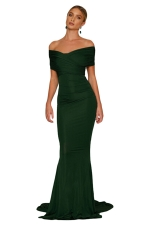 Women Elegant Off-Shoulder Mermaid Wedding Party Gown Dress Green