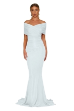 Women Elegant Off-Shoulder Mermaid Wedding Party Gown Dress White