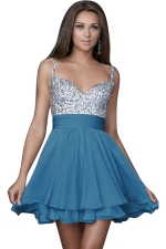 Women Sexy Strap Sequin Veil Layer Mini Evening Dress blue