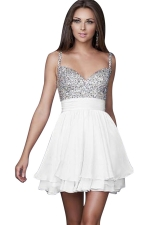 Women Sexy Strap Sequin Veil Layer Mini Evening Dress White