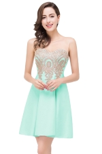 Women Elegant Sheer Neck Gold Applique Party Prom Dress Green