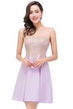 Women Elegant Sheer Neck Gold Applique Party Prom Dress Light Purple