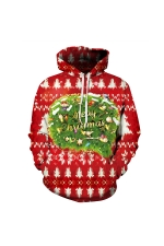 Merry Christmas Digital Printed Christmas Hoodie Red