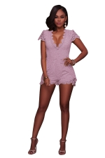 Women Sexy Deep V Neck Lace Hollow Out Romper Pink