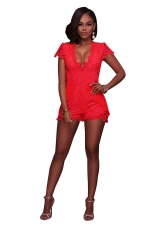 Women Sexy Deep V Neck Lace Hollow Out Romper Red
