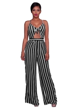 Women Sexy Strap Cut Out Stripe High Waist Wide Legs Jumpsuit Black
