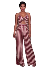 Women Sexy Strap Cut Out Stripe High Waist Wide Legs Jumpsuit Ruby