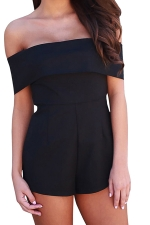 Women Sexy Off Shoulder Plain Zipper Romper Black