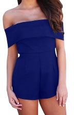 Women Sexy Off Shoulder Plain Zipper Romper Sapphire Blue
