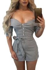 Women Sexy Striped Condole Belt Cut Out Belt Short Jumpsuit Black