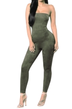 Women Sexy Off Shoulder Fitted High Waist Jumpsuit Army Green