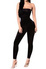 Women Sexy Off Shoulder Fitted High Waist Jumpsuit Black