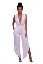 Women Sexy Deep V Side Split Back V High Waist Jumpsuit White