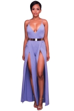 Women Sexy Deep V High Waist Belt Split Wide Leg Jumpsuit Purple