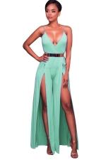 Women Sexy Deep V High Waist Belt Split Wide Leg Jumpsuit Turquoise