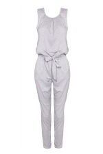 Women Casual Plain Sleeveless Lace Up Tank Jumpsuit Gray
