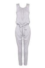 Women Casual Plain Sleeveless Lace Up Tank Jumpsuit Gray