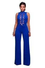 Women Sexy Cross Cut Out High Waist Wide Legs Jumpsuit Sapphire Blue