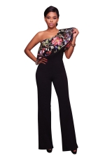 Women Sexy One Shoulder Ruffle Embroidered Wide Legs Jumpsuit Black