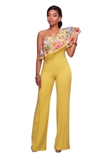 Women Sexy One Shoulder Ruffle Embroidered Wide Legs Jumpsuit Yellow