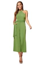 Women Sexy Solid Color Tie Waist Wide Legs Jumpsuit Green
