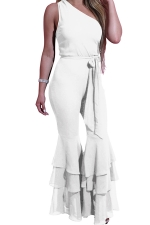 Women One Shoulder Belt Double Layers Bell Bottom Jumpsuit White