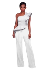 Women Elegant One Shoulder Ruffle High Waist Wide Legs Jumpsuit White