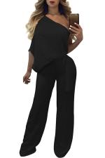 Women Sexy One Shoulder Wide Legs Belt Jumpsuit Black