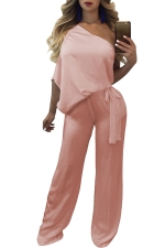 Women Sexy One Shoulder Wide Legs Belt Jumpsuit Pink