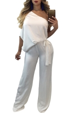 Women Sexy One Shoulder Wide Legs Belt Jumpsuit White