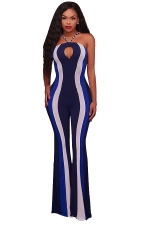 Women Sexy Hollow Out Halter Skinny Stripe Bell Bottom Jumpsuit Blue