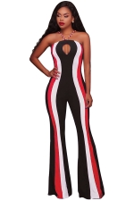 Women Sexy Hollow Out Halter Skinny Stripe Bell Bottom Jumpsuit Red