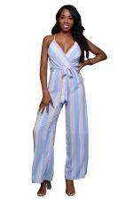 Women Sexy Strap Belt Stripes Printed Chiffon Jumpsuit Light Blue